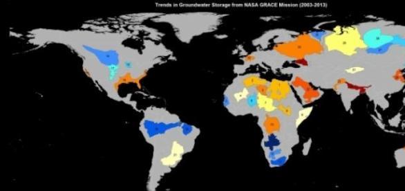Situación de acuíferos, según datos de GRACE/NASA