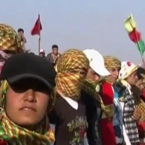 Kurdish supporters at a funeral in Syria