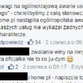 Home.pl zaprzecza wystąpieniu awarii - Facebook