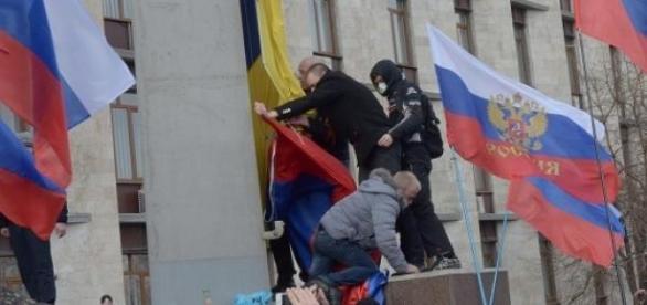 Manifestation des rebelles pro-russes.