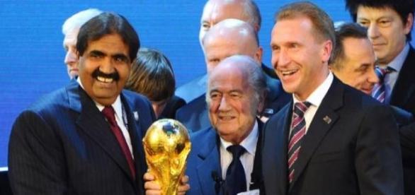 Sepp Blatter announcing WC hosts Russia & Qatar