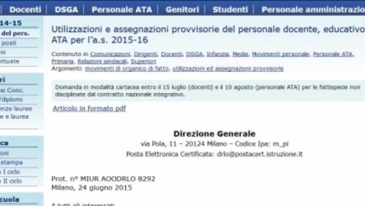 Domanda utilizzazione e assegnazione provvisoria a.s. 2015/16: date scadenza docenti, ata