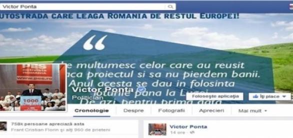 Pagina de facebook cu anunţul lui Ponta