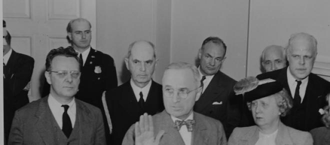 Harry Truman takes the oath of office in 1945