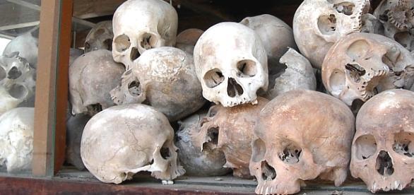 Kolekcja czaszek ofiar Czerwonych Khmerów