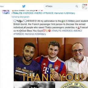Bohaterowie z Thalys - podziękowania na Twitterze