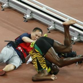 Momento del accidente de Usain Bolt