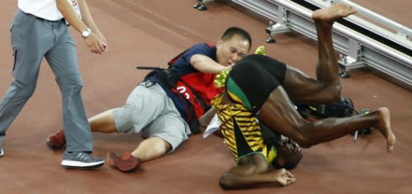Momento del accidente de Usain Bolt