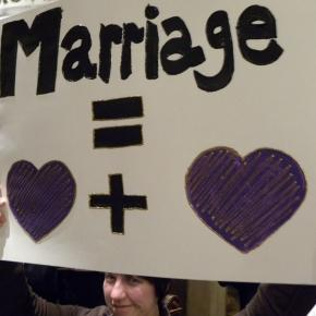 Woman showing her support of the freedom to marry