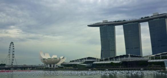 Marina Bay mit Marina Bay Sands und Singapur Flyer