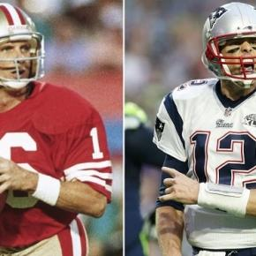 Joe Montana (16) and Tom Brady (12) side by side