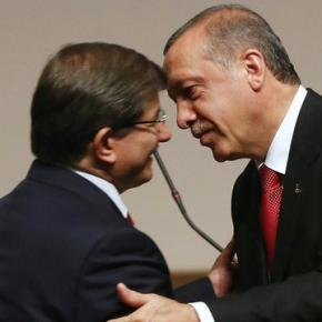 Turkey PM Ahmet Davutoglu (left) and Erdogan