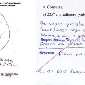 Imagens de alunos que foram criativos nas respostas da prova