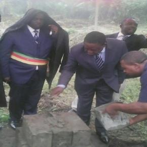 credit: cameroonintelligencereport.com Mayor Ekema looks on during lying of foundation stone of halted mortuary