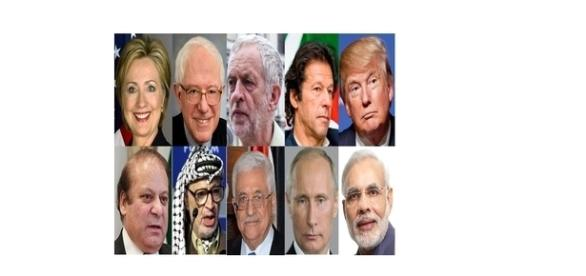 Politicians from around the world. Collage creative commons