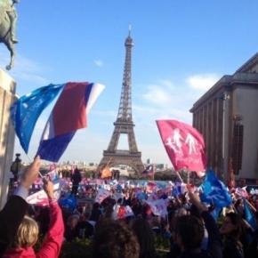 La Manif pour tous sur la place du Trocadéro à Paris, le dimanche 16 octobre 2016.