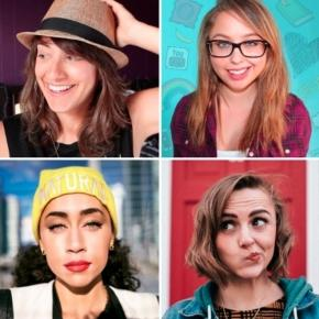 Photo of Arielle Scarcella, Laci Green, Shan Boodram, and Hannah Witton (via Wikepedia)