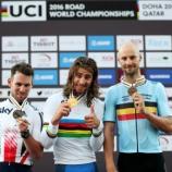 Il podio dei Mondiali di ciclismo a Doha