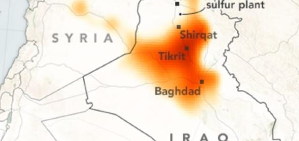 NASA images show how the sulfur dioxide is spreading in the region. (NASA)