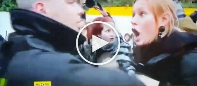 Wściekłe feministki atakują policję i bezczeszczą godło. Awantura na całego! [WIDEO]