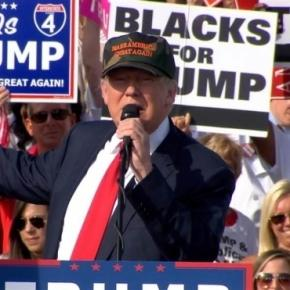 'Blacks for Trump,' says the white woman holding the sign. Donald Trump outlines his 'New Deal For Black America' - NBC News - nbcnews.com