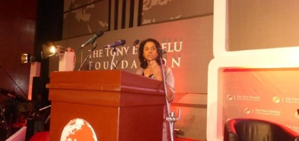 Tony Elumelu Foundation CEO addresses participants in Lagos, October 28,2016(Mbom Sixtus)