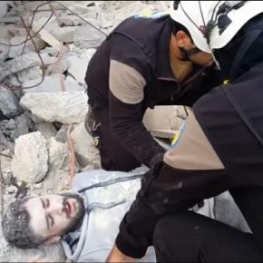 White helmets mannequin challenge / Photo via RSF media