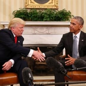 Donald Trump greets President Barack Obama - Image sourced via Blasting News Library