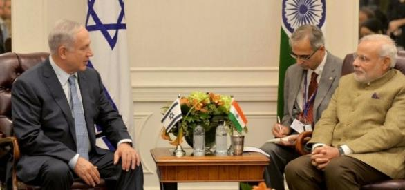 File photo of Indian PM with Israeli PM. from Blasting news support