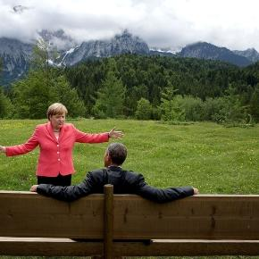 Chancellor Merkel animates during 2015 meeting with Pres. Obama. (Wkimedia - Photo is property of U.S. Govenment