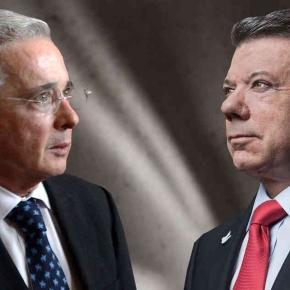 Former Colombian President Alvaro Uribe (left) Incumbent Juan Manuel Santos / Photo by SEMANA, Blasting News library