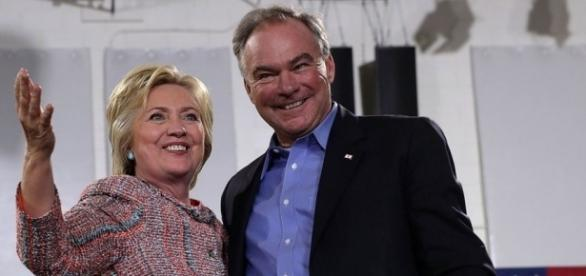 Hillary Clinton teeters on edge as Tim Kaine makes cheese curd mistake! Photo: Blasting News Library- hollywoodreporter.com