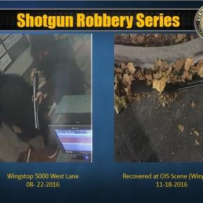 Surveillance video of robbery in August, believed to be suspects in Friday night robbery, and shotgun found Friday night - Stockton Police Department