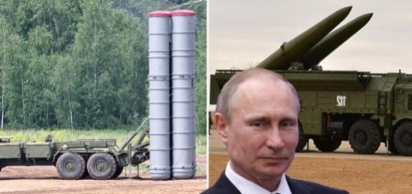 Putin deploys ballistic missiles (some of the carrying nuclear capabilities) in the heart of Europe - Creative Commons photo collage (Wikipedia)