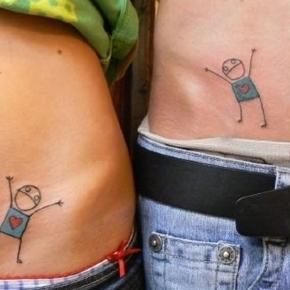 Imagens de tatuagens feitas para se completarem