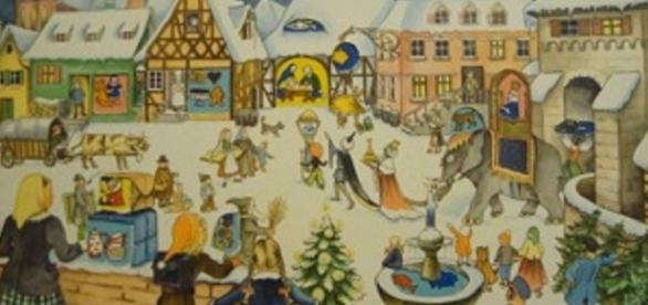 Source: Wikimedia Marianne Schneegans free use Advent calendar to print