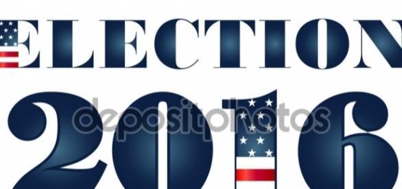 Elecciones 2016 con la ilustración de la bandera de Estados Unidos ... - depositphotos.com