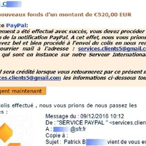 La vendeuse a reçu, deux fois de suite, de deux faux acquéreurs, un courriel falsifié de ce type
