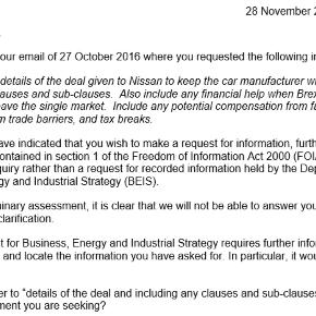 Email documentation recieved from BEIS in regards to the FOI request - source: Social Journalist, Matthew Clifton