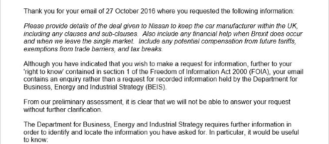 Department of Business, Energy and Industrial Strategy avoid answering a FOI request
