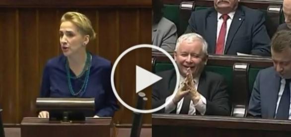 Jarosław Kaczyński wyśmiewa posłankę Nowoczesnej.