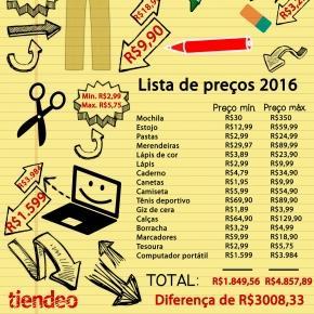 Lista de preços volta às aulas