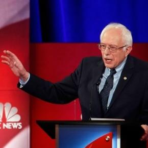 Sen. Bernie Sanders (D-VT) on the debate stage.