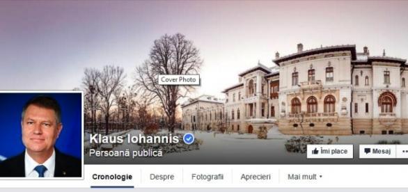 Pagina de facebook a lui Klaus Iohannis