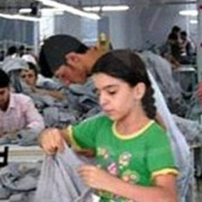 Young child working in Turkish a factory