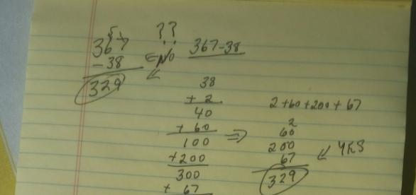 Subtracting numbers by adding a list of numbers