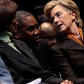 Clinton courting the black vote. (Hondros/Getty)