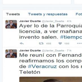 Publicación de Javier Duarte desmintiendo.