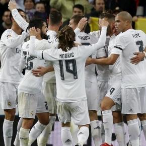Los jugadores del Madrid celebran un gol este año