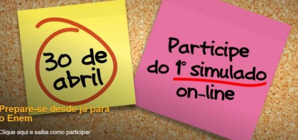 Anúncio do primeiro simulado. CAPTURA DE TELA/SITE OFICIAL.